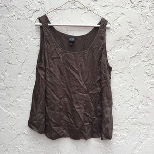 EILEEN FISHER Size Large Brown Silk Tank Top